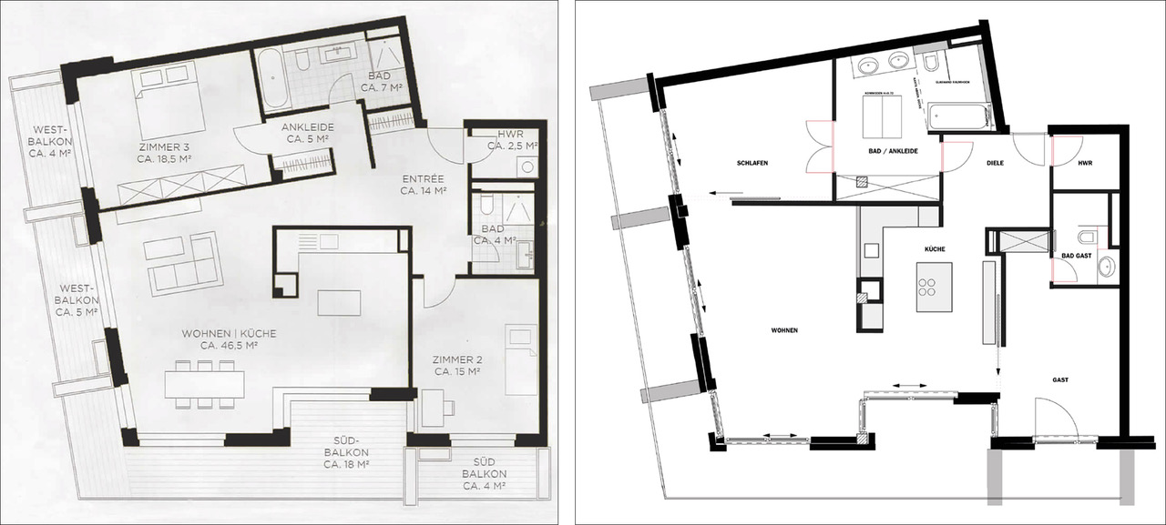brillant interiors Interior Designer Berlin Plan Optimized groundplan of a condominium